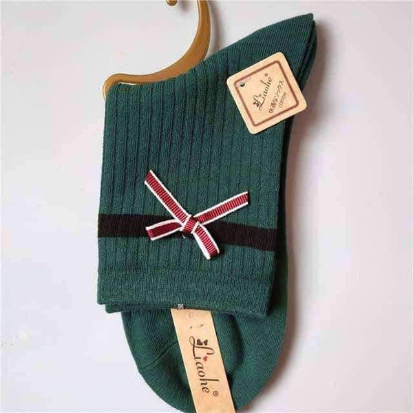 leggycozy socks [leggycozy] Korean Style High Quality Kawaii Bow Stripe Socks
