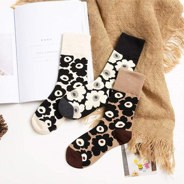 [leggycozy] Korean Style Kawaii Floral Pattern Cotton Socks