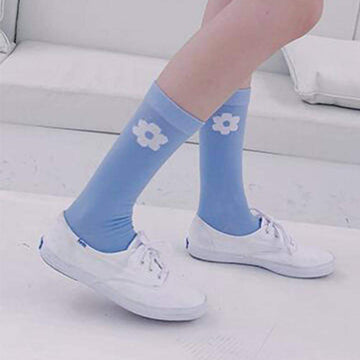 [leggycozy] Korean Style Kawaii Floral Print Casual Thin Cotton Socks