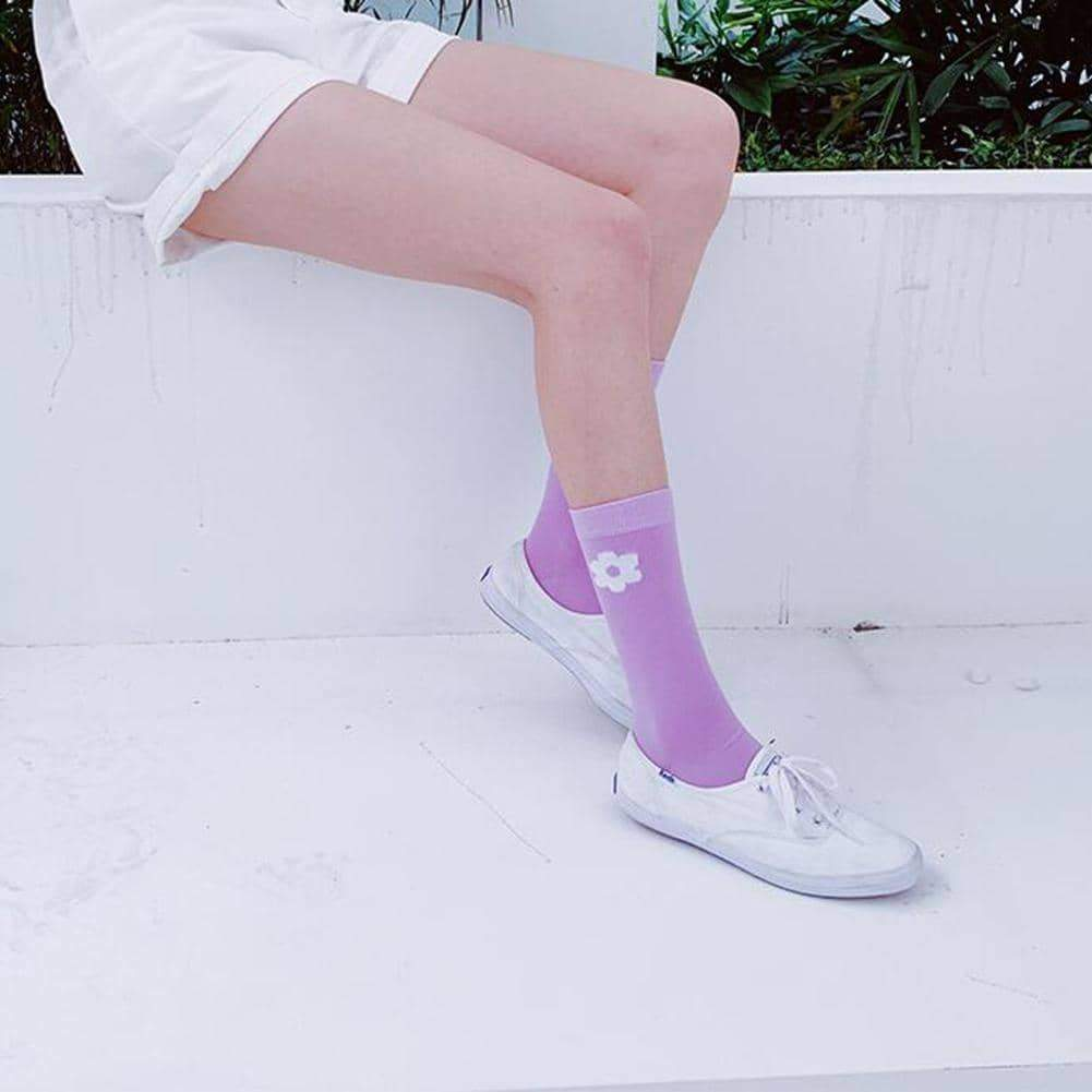leggycozy socks [leggycozy] Korean Style Kawaii Floral Print Casual Thin Cotton Socks