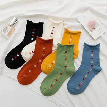 [leggycozy] Korean Style Lovely Flower Pattern Socks