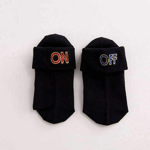 Open image in slideshow, [leggycozy] Korean Style ON OFF Letter Embroidery Bobby Socks -White Black Grey