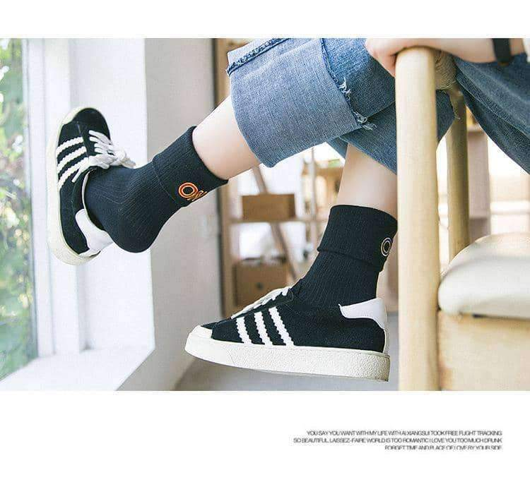 [leggycozy] Korean Style ON OFF Letter Embroidery Bobby Socks -White Black Grey