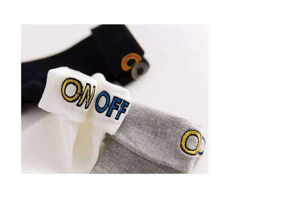 leggycozy socks [leggycozy] Korean Style ON OFF Letter Embroidery Bobby Socks -White Black Grey