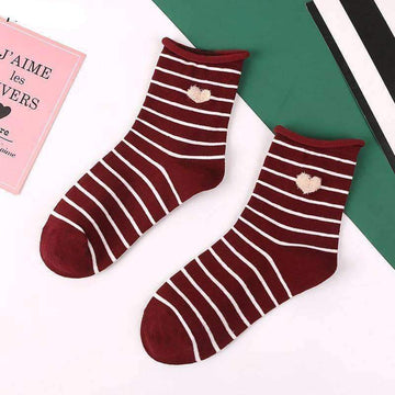 [leggycozy] Korean Style Striped & Heart Pattern Middle Socks