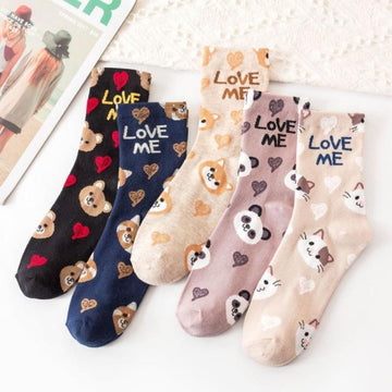 [leggycozy] Korean Vintage Cartoon Animal Pattern Cotton Socks
