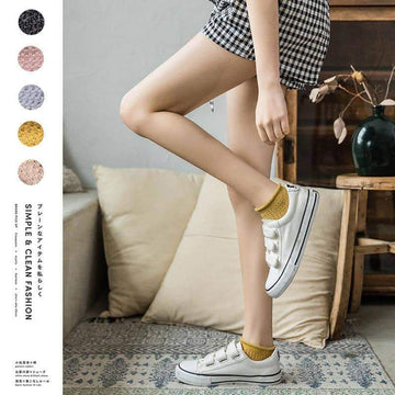 [leggycozy] Korean Vintage Style Lovely Plain Color Socks