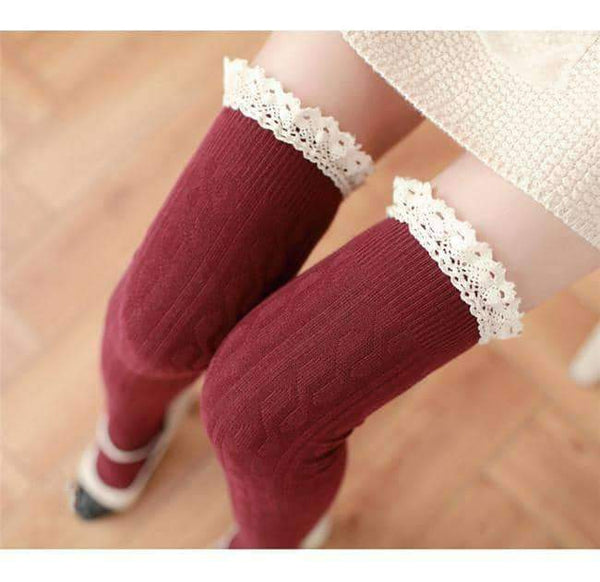 leggycozy socks [leggycozy] Lovely Laced Knee High Socks
