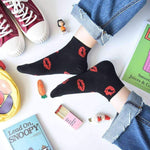 leggycozy socks [leggycozy] Lovely Love-Bite Jacquard Ankle Cotton Socks