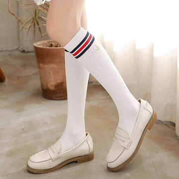 [leggycozy] Preppy Style Anchor Embroidery Lovely Knee Socks