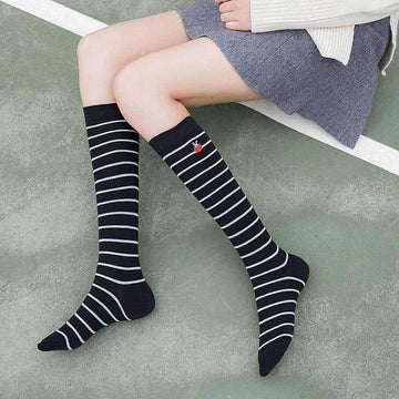 [leggycozy] Preppy Style Heart Embroidery Pure Cotton Knee Socks