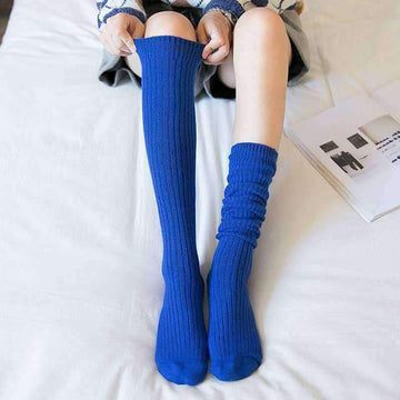 [leggycozy] Preppy Style Solid Color Elastic Knee High Socks