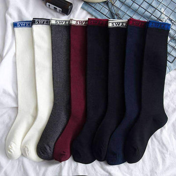 [leggycozy] Preppy Style Solid Color Knee Socks