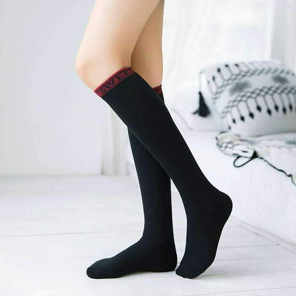 leggycozy socks [leggycozy] Preppy Style Solid Color Knee Socks