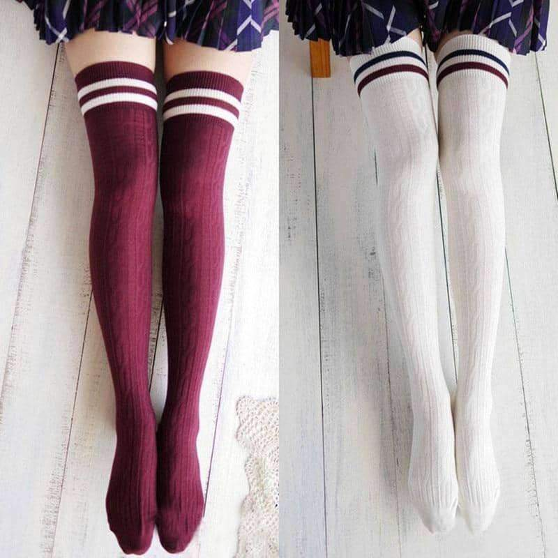 [leggycozy] Preppy Style Striped Knit Over Knee Socks
