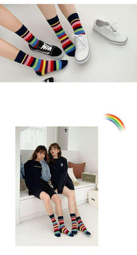 leggycozy socks [leggycozy] Rainbow Striped Breathable Crew Cotton Socks