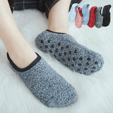 [leggycozy] Retro Candy Color Coral Fleece Solid Warm Floor Socks