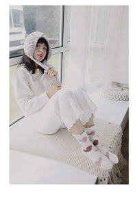 leggycozy socks [leggycozy] Retro Cute Heart Pattern Pompom Coral Fleece Breathable Socks