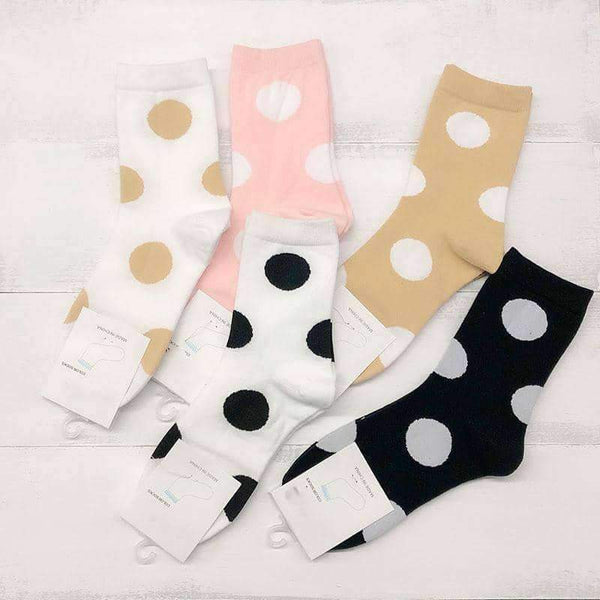 leggycozy socks [leggycozy] Retro Cute Polka Dot Solid Cotton Socks