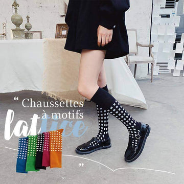 [leggycozy] Retro Fashionable Classic Lattice Knee High Socks