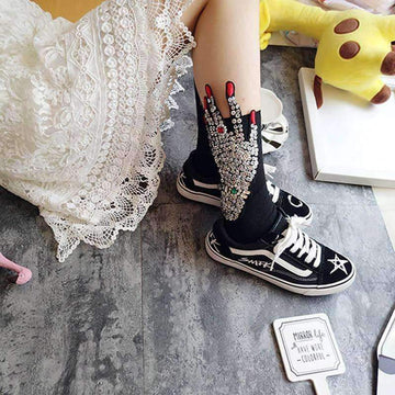 [leggycozy] Sequin Embroidery Woman's Hand Cotton Socks
