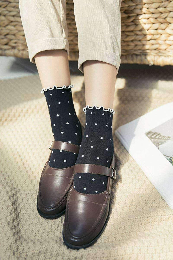 leggycozy socks [leggycozy] Striped & Heart Solid Color Flounced Socks