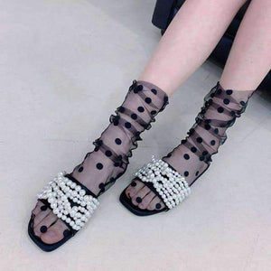Open image in slideshow, [leggycozy] Stylish Summer Polka Dot Ruffle Tulle Socks