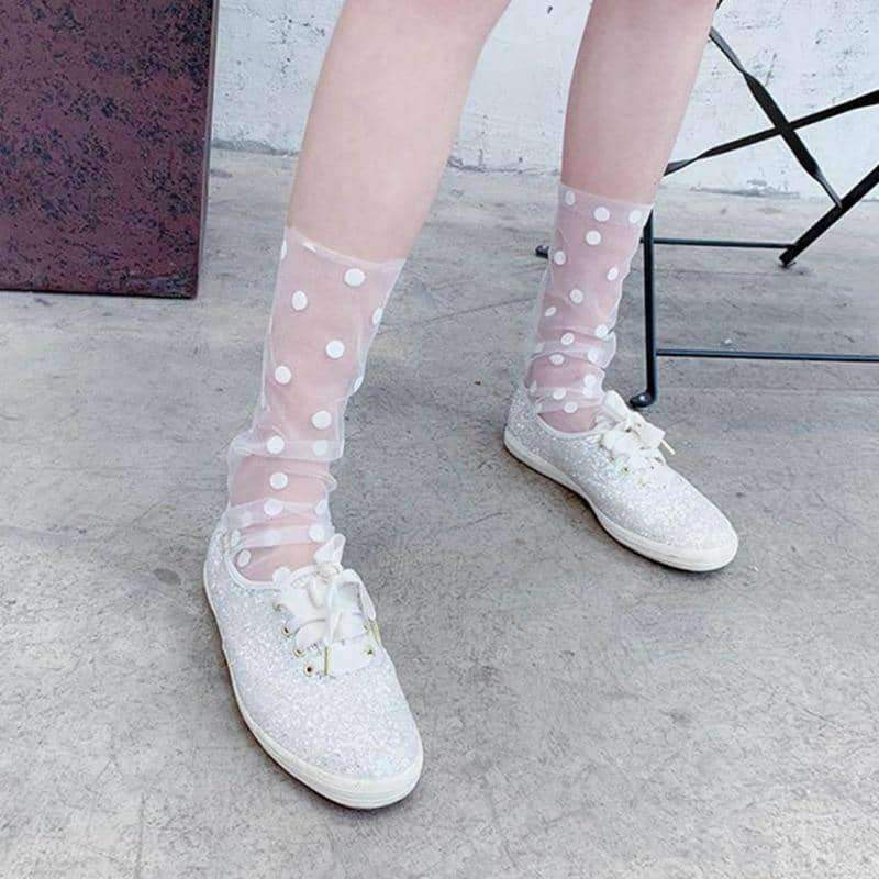 [leggycozy] Stylish Summer Polka Dot Ruffle Tulle Socks