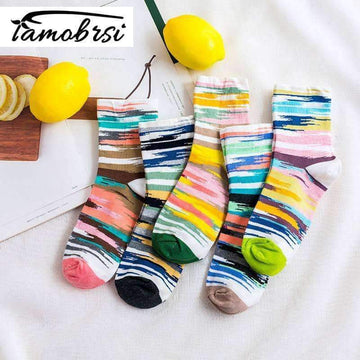 [leggycozy] Sweet Candy Color Graffiti Breathable Cotton Socks