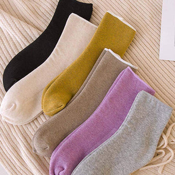 [leggycozy] Thick Plus Velvet Wild Solid Color Warm Floor Socks