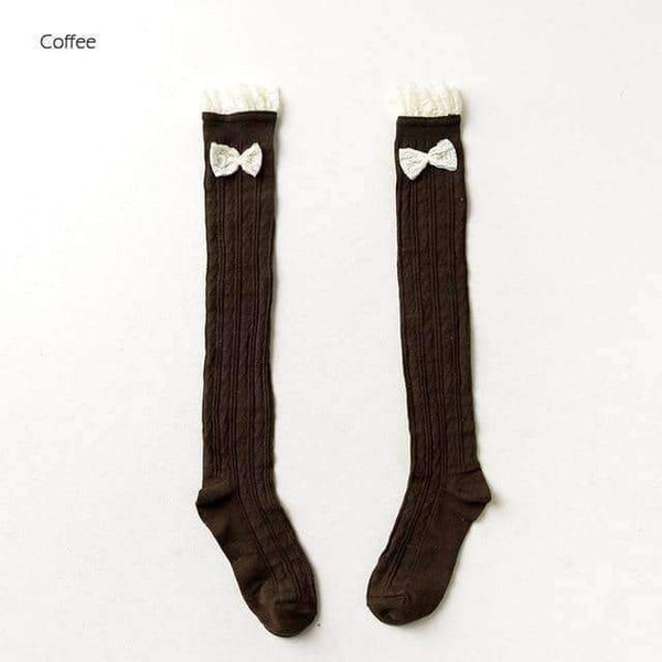 leggycozy socks [leggycozy] Thigh High Over the Knee Socks with Lace & Bow-Knot