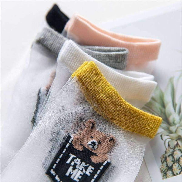 leggycozy socks [leggycozy] Thin Transparent Teddy Bear Print Cartoon Socks