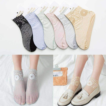 [leggycozy] Ultra-thin Solid Novelty Ankle Sheer Socks