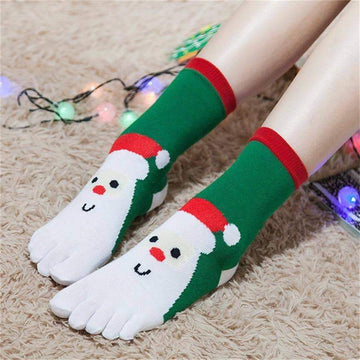 [leggycozy] Unisex Christmas Cartoon Print Multi-Color Five Finger Cotton Socks