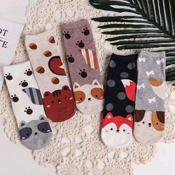 [leggycozy] Unisex Cute Cartoon Style Cotton Tube Socks