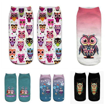 [leggycozy] Unisex Cute Owl Casual Low Cut Ankle Socks