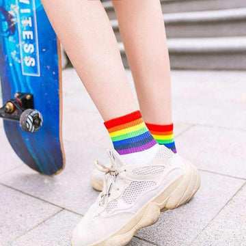 [leggycozy] Unisex Rainbow Striped Breathable Cotton Socks