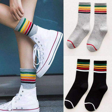 [leggycozy] Unisex Rainbow Striped Cotton Socks