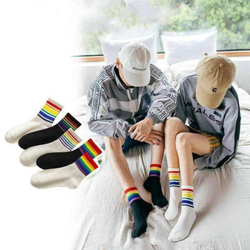 [leggycozy] Unisex Rainbow Stripes Skateboard Socks