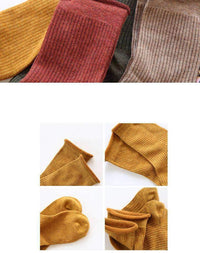 leggycozy socks [leggycozy] Vintage 8 colors Ribbed Pattern Rolling Top Knitted Socks