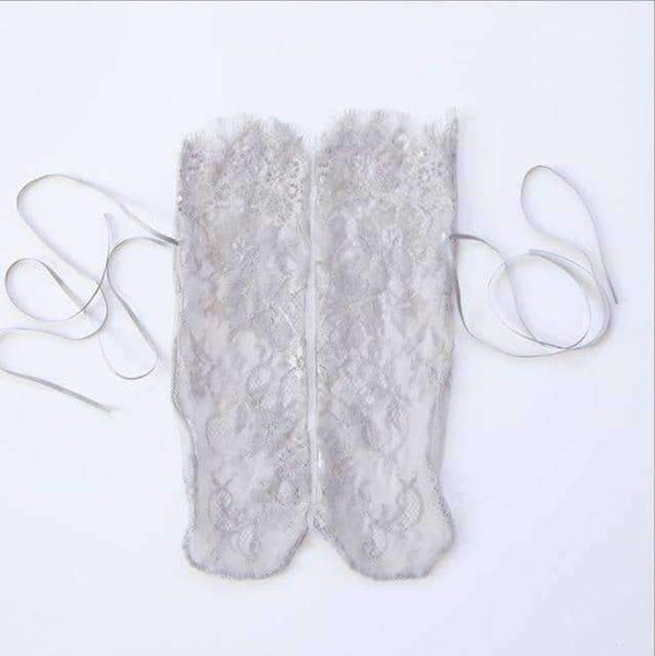 leggycozy socks [leggycozy] Vintage Retro Floral Transparent Ruffle Frilly Tulle Ankle Socks