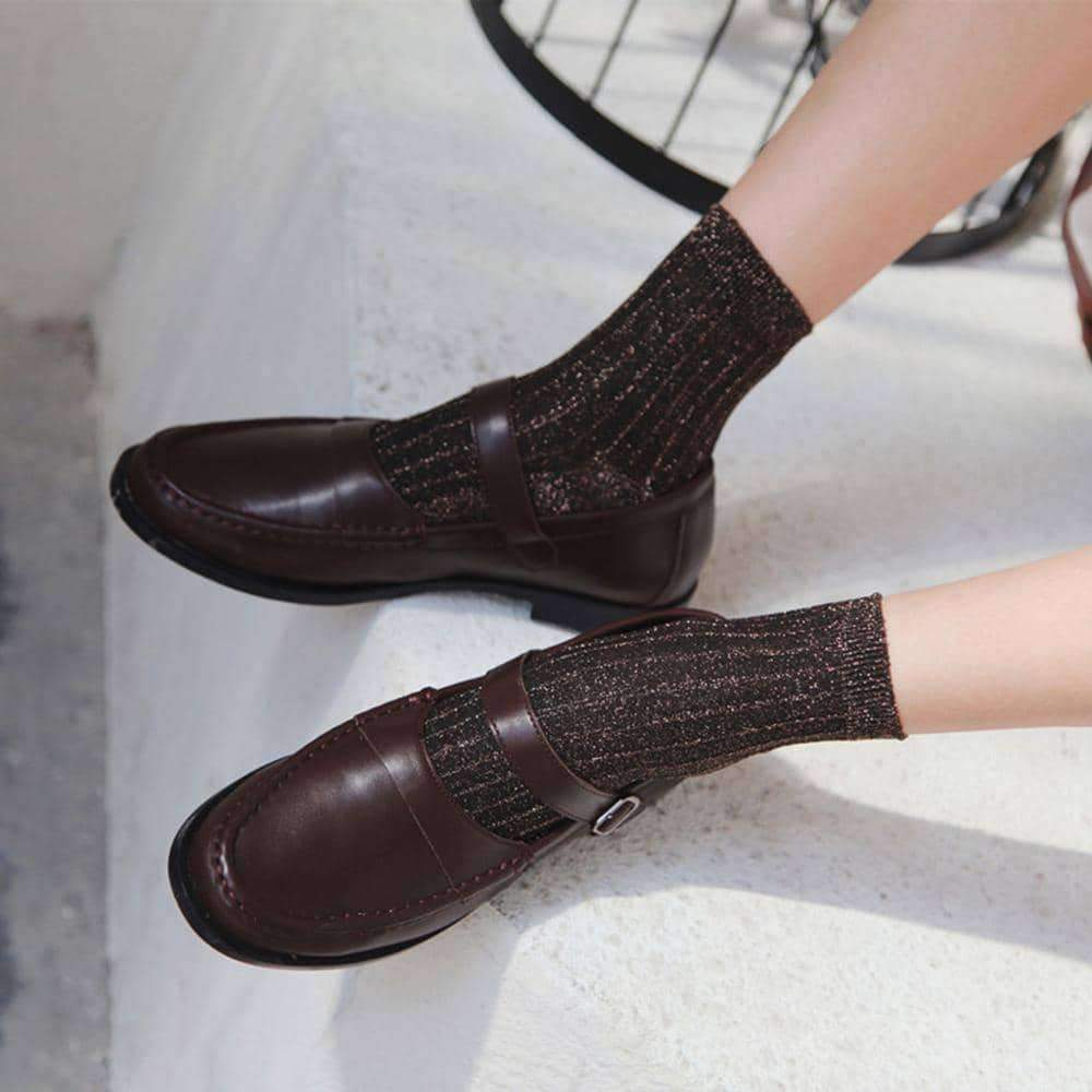 [leggycozy] Vintage Ribbed Knitted Vertical Stripes Glitter Socks