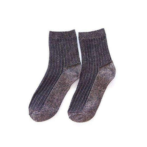 Open image in slideshow, [leggycozy] Vintage Ribbed Knitted Vertical Stripes Glitter Socks