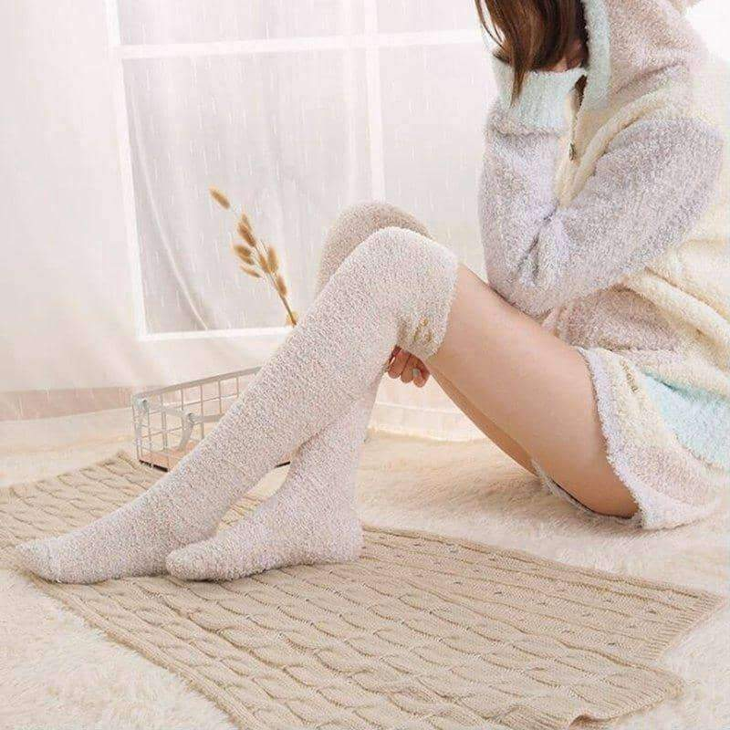 leggycozy socks [leggycozy] Warm Solid Color Coral Velvet Fleece Long Sleeping Socks