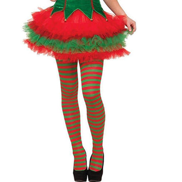 [leggycozy] Christmas Red And Green Striped Over-The-Knee Silk Stockings
