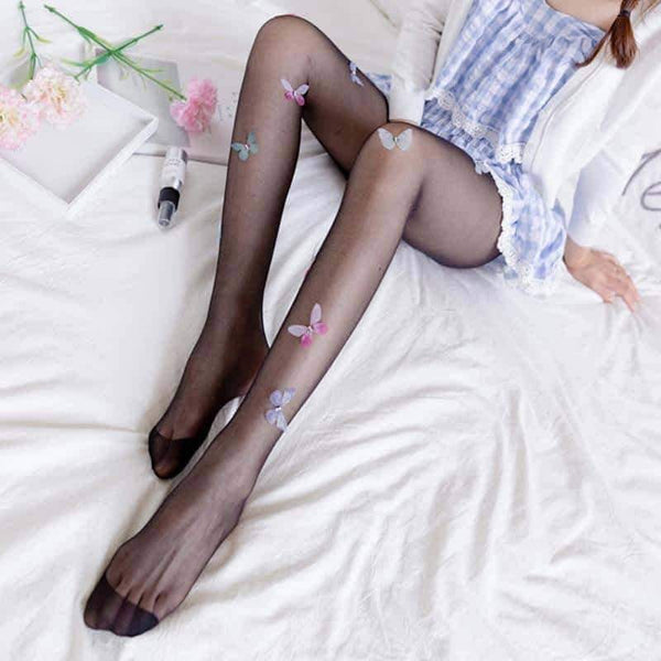 leggycozy Stocking [leggycozy] Cute Butterfly Tattoo Pantyhose Nylon Stockings