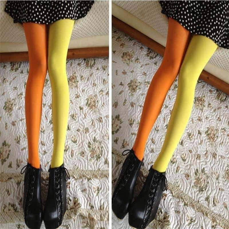 [leggycozy] Elastic Cute Two Solid Color Stockings