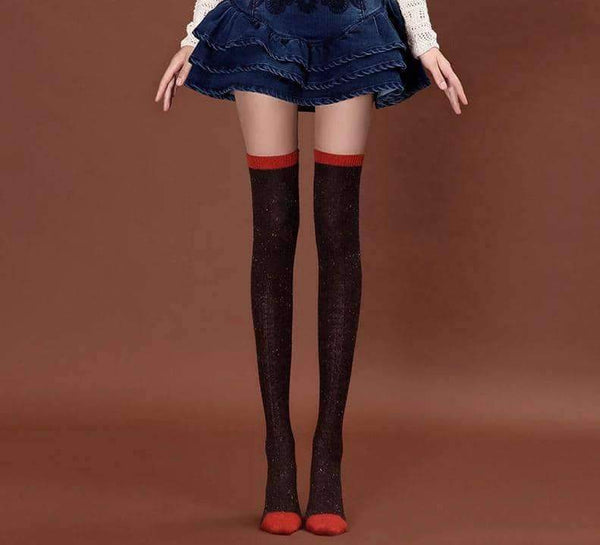 leggycozy Stocking [leggycozy] High Quality Colorful Glitter Block Dot Elastic Over-The-Knee Stockings