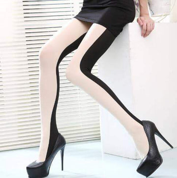 [leggycozy] High Quality Elegant Double Color Patchwork Pantyhose Stockings
