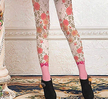[leggycozy] High Quality Pink Flowers Bow Knot Print Pantyhose Tights Stockings